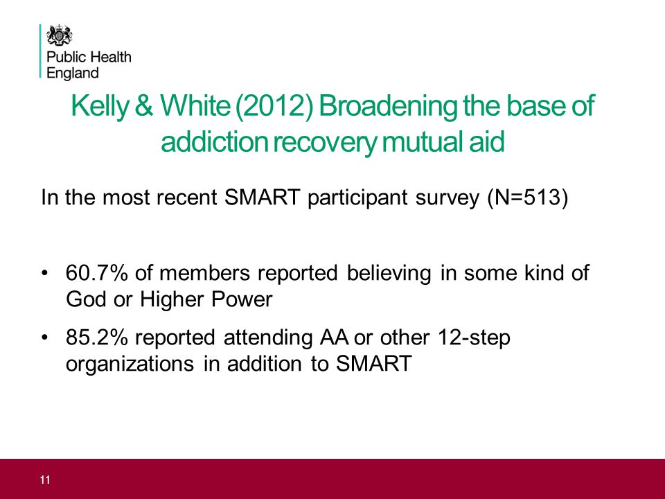 Kelly & White (2012) Broadening the base of addiction recovery mutual aid In the most recent SMART participant survey (N=513) 60.7% of members reporte