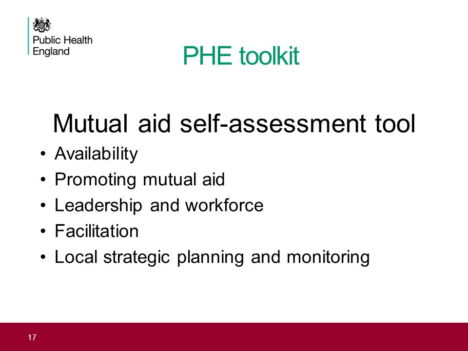 PHE toolkit Mutual aid self-assessment tool Availability Promoting mutual aid Leadership and workforce Facilitation Local strategic planning and monit