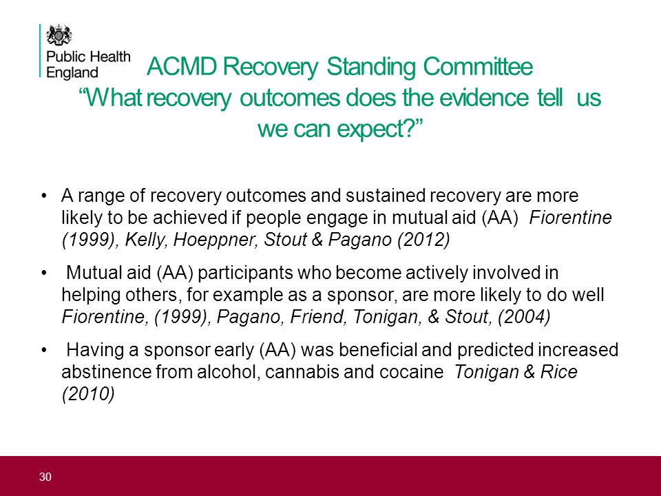 """ACMD Recovery Standing Committee """"What recovery outcomes does the evidence tell us we can expect?"""" A range of recovery outcomes and sustained recovery"""