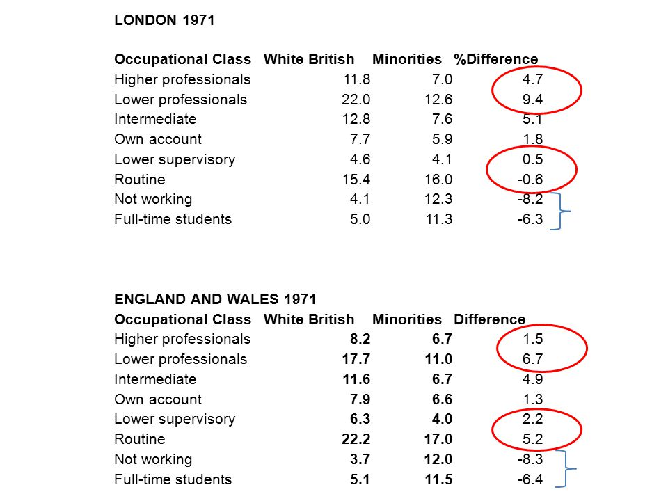 LONDON 1971 Occupational ClassWhite BritishMinorities%Difference Higher professionals11.87.04.7 Lower professionals22.012.69.4 Intermediate12.87.65.1 Own account7.75.91.8 Lower supervisory4.64.10.5 Routine15.416.0-0.6 Not working4.112.3-8.2 Full-time students5.011.3-6.3 ENGLAND AND WALES 1971 Occupational ClassWhite BritishMinoritiesDifference Higher professionals8.26.71.5 Lower professionals17.711.06.7 Intermediate11.66.74.9 Own account7.96.61.3 Lower supervisory6.34.02.2 Routine22.217.05.2 Not working3.712.0-8.3 Full-time students5.111.5-6.4