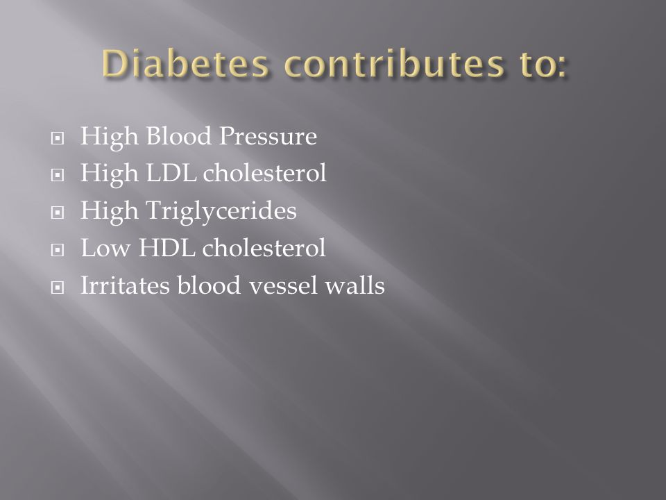  High Blood Pressure  High LDL cholesterol  High Triglycerides  Low HDL cholesterol  Irritates blood vessel walls