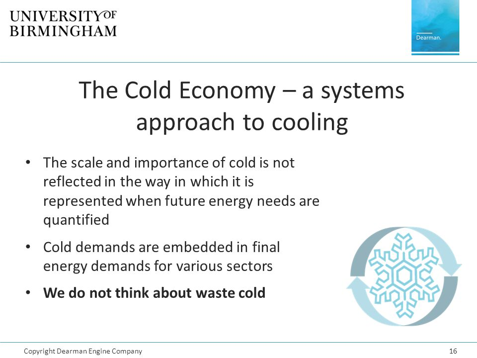 Copyright Dearman Engine Company16 The Cold Economy – a systems approach to cooling The scale and importance of cold is not reflected in the way in wh