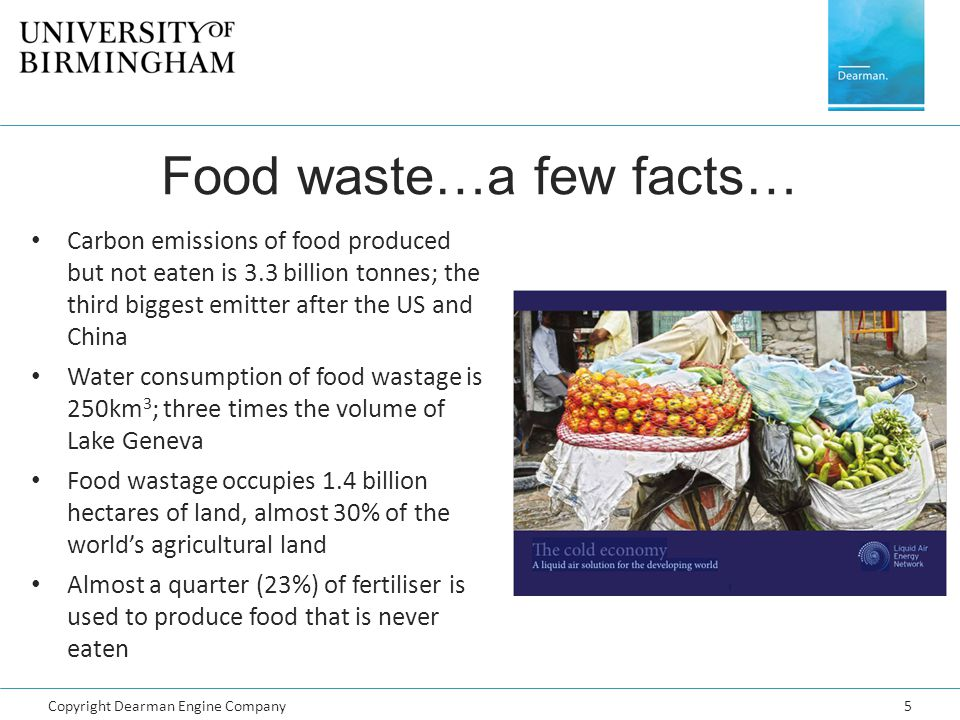 Copyright Dearman Engine Company5 Food waste…a few facts… Carbon emissions of food produced but not eaten is 3.3 billion tonnes; the third biggest emi