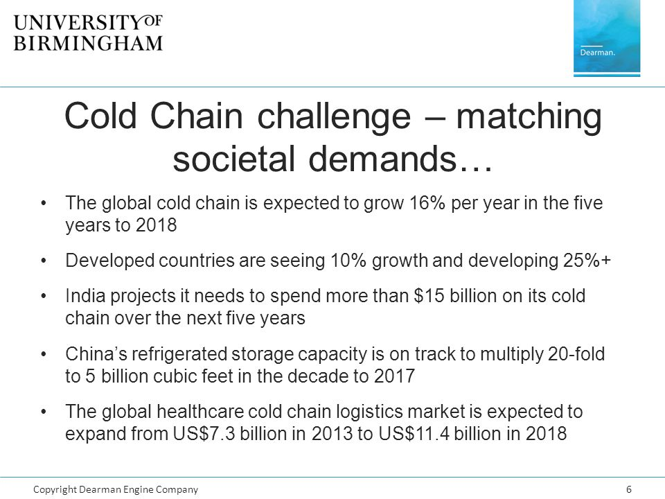 Copyright Dearman Engine Company6 Cold Chain challenge – matching societal demands… The global cold chain is expected to grow 16% per year in the five