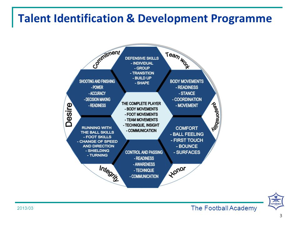 2008/07 Talent Identification & Development Programme 3 2013/03 The Football Academy