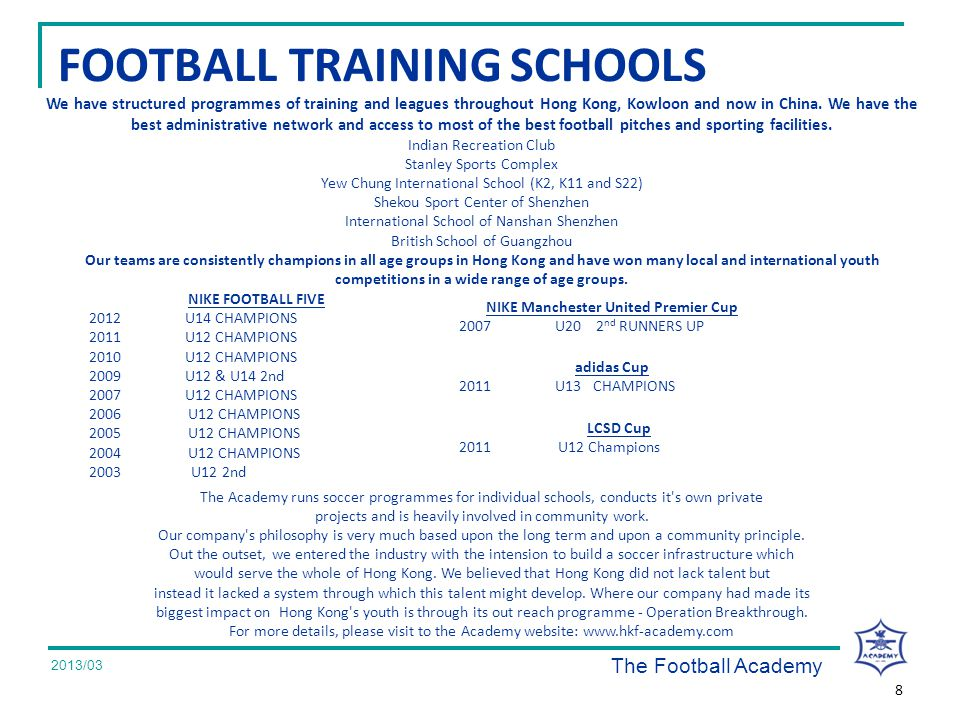 2008/07 We have structured programmes of training and leagues throughout Hong Kong, Kowloon and now in China.