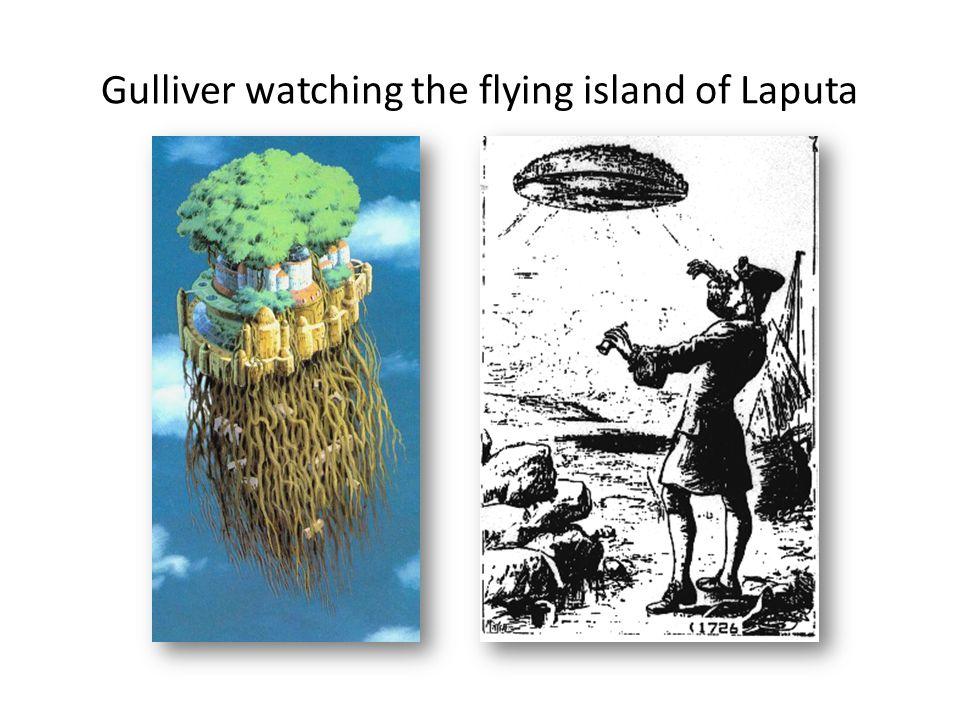 Gulliver watching the flying island of Laputa