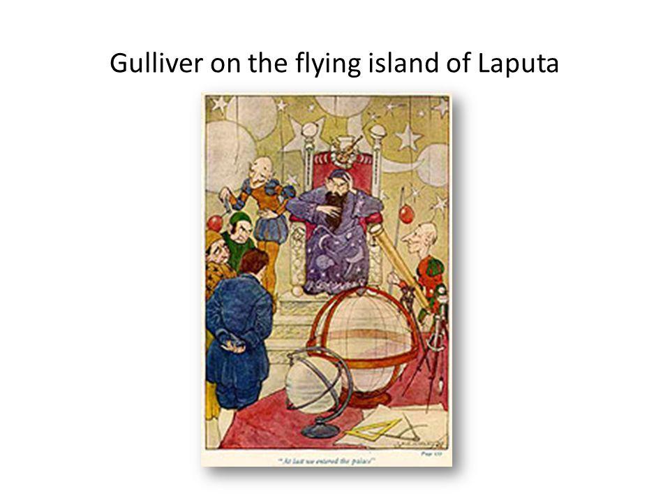 Gulliver on the flying island of Laputa