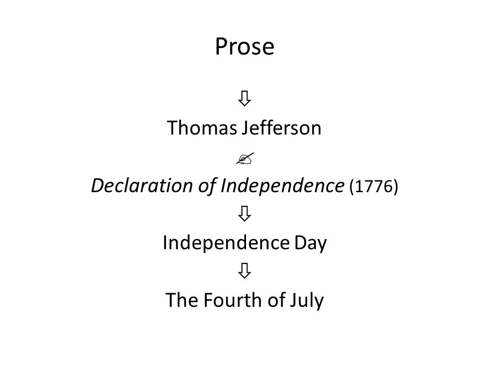 Prose  Thomas Jefferson  Declaration of Independence (1776)  Independence Day  The Fourth of July