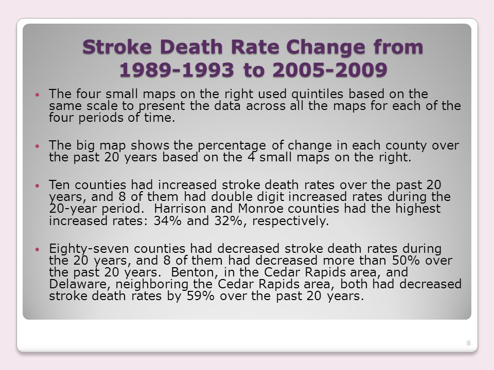 Stroke Death Rate Change from 1989-1993 to 2005-2009 The four small maps on the right used quintiles based on the same scale to present the data across all the maps for each of the four periods of time.