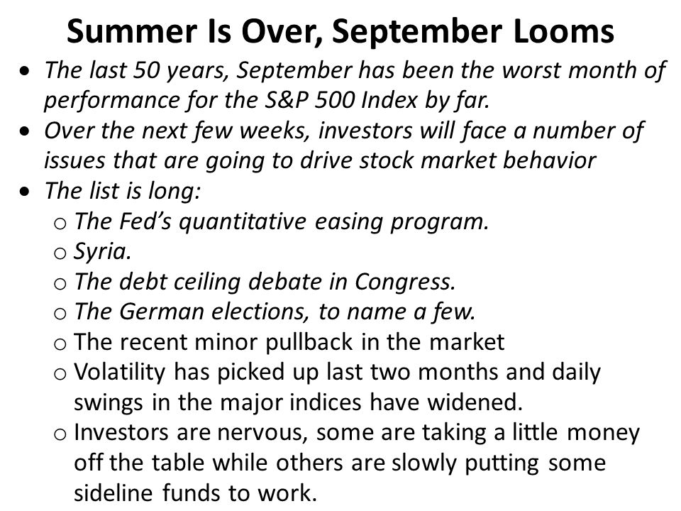 Summer Is Over, September Looms  The last 50 years, September has been the worst month of performance for the S&P 500 Index by far.