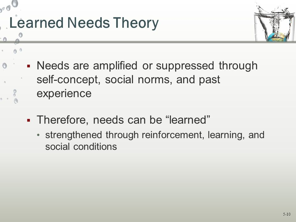 """5-10 Learned Needs Theory  Needs are amplified or suppressed through self-concept, social norms, and past experience  Therefore, needs can be """"learn"""