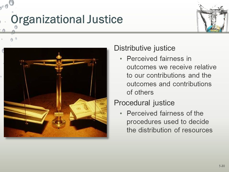 5-30 Organizational Justice Distributive justice Perceived fairness in outcomes we receive relative to our contributions and the outcomes and contribu