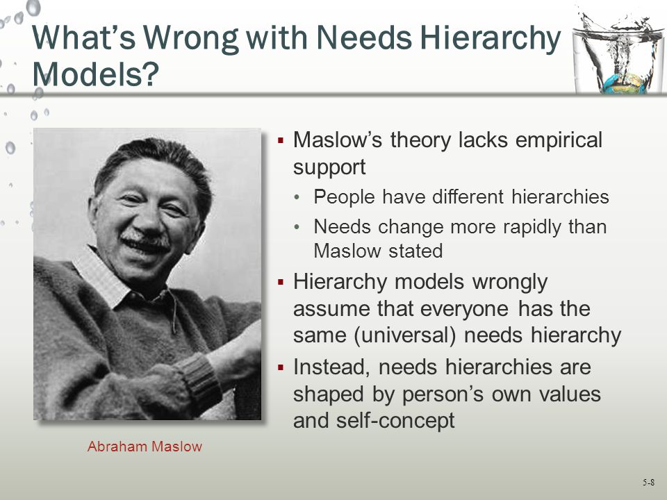 5-8 What's Wrong with Needs Hierarchy Models?  Maslow's theory lacks empirical support People have different hierarchies Needs change more rapidly th