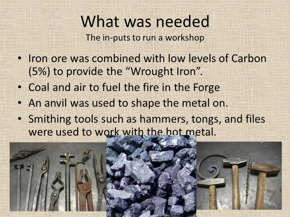What was needed The in-puts to run a workshop Iron ore was combined with low levels of Carbon (5%) to provide the Wrought Iron .