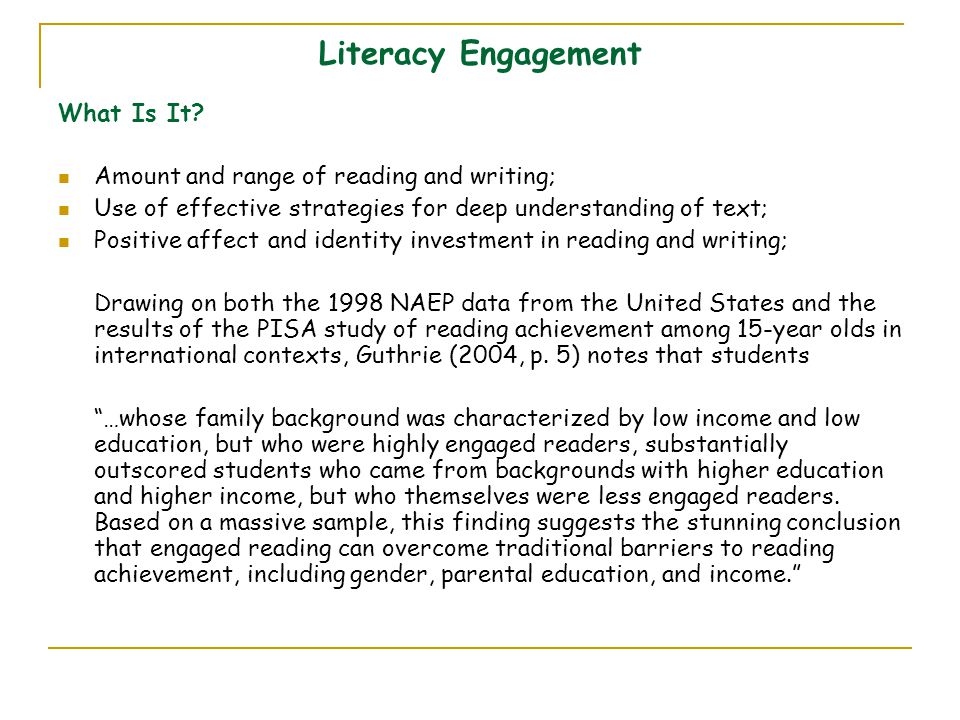 Literacy Engagement What Is It.