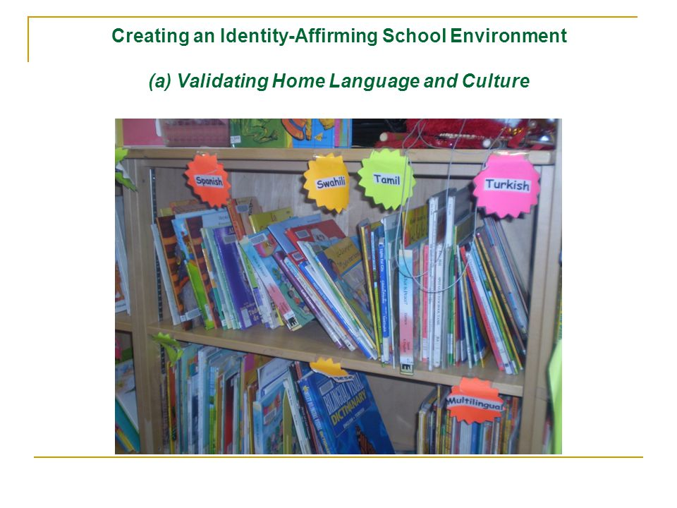 Creating an Identity-Affirming School Environment (a) Validating Home Language and Culture