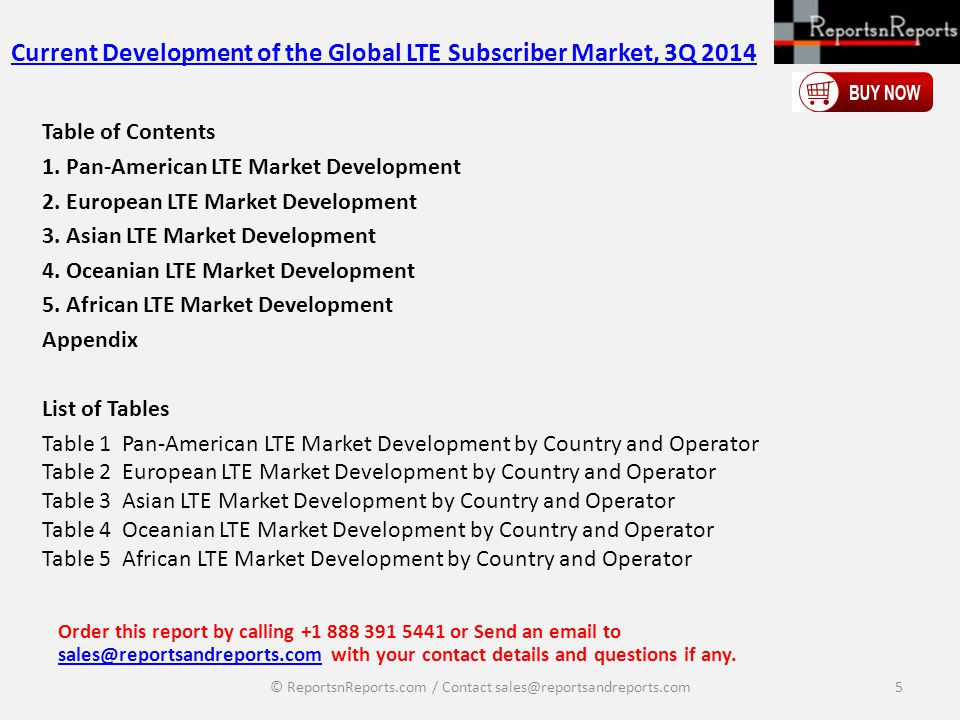 Current Development of the Global LTE Subscriber Market, 3Q 2014 Table of Contents 1.