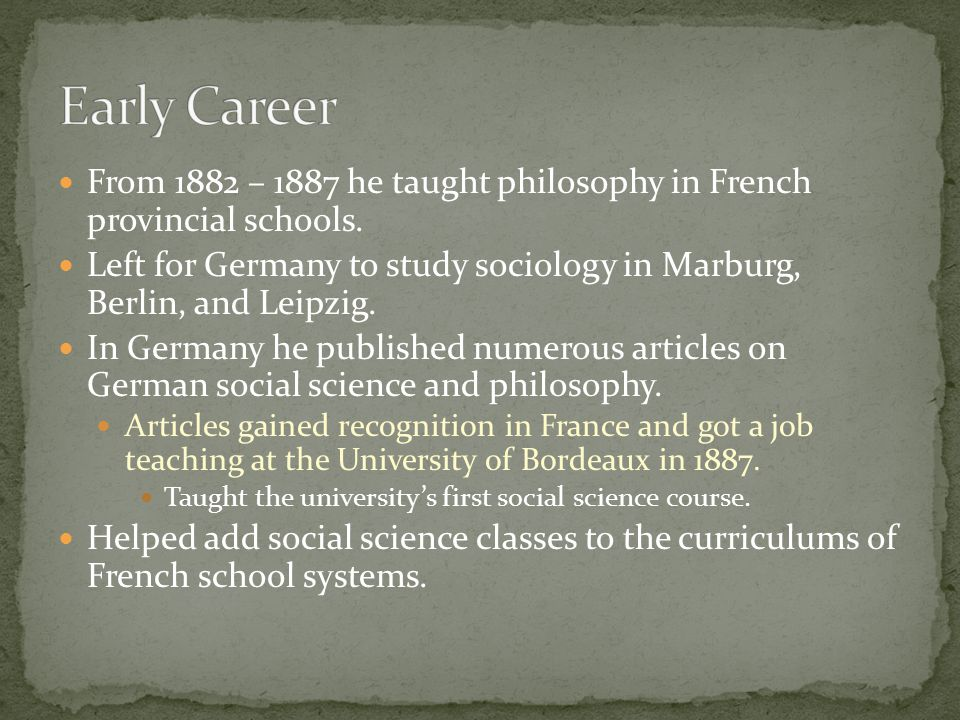 From 1882 – 1887 he taught philosophy in French provincial schools.