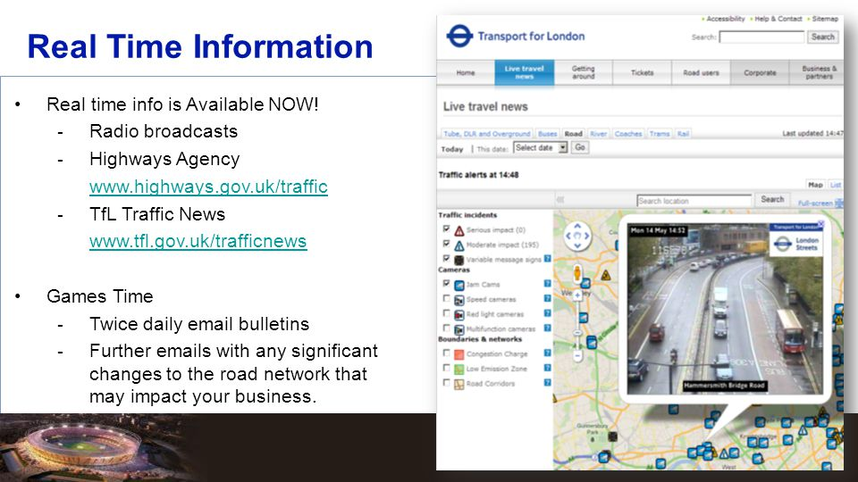 Real Time Information Real time info is Available NOW!  Radio broadcasts  Highways Agency www.highways.gov.uk/traffic  TfL Traffic News www.tfl.gov