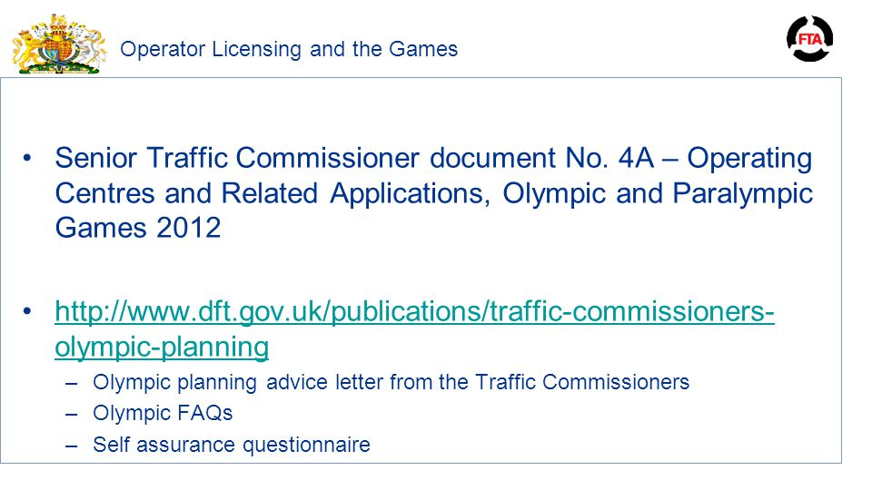 Operator Licensing and the Games Senior Traffic Commissioner document No.