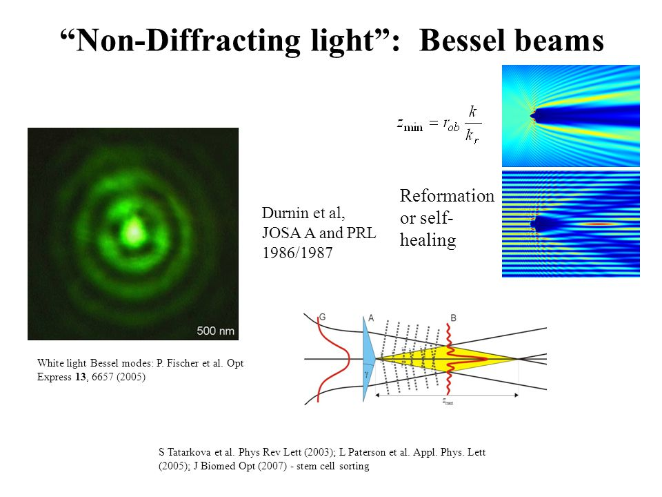 Non-Diffracting light : Bessel beams White light Bessel modes: P.