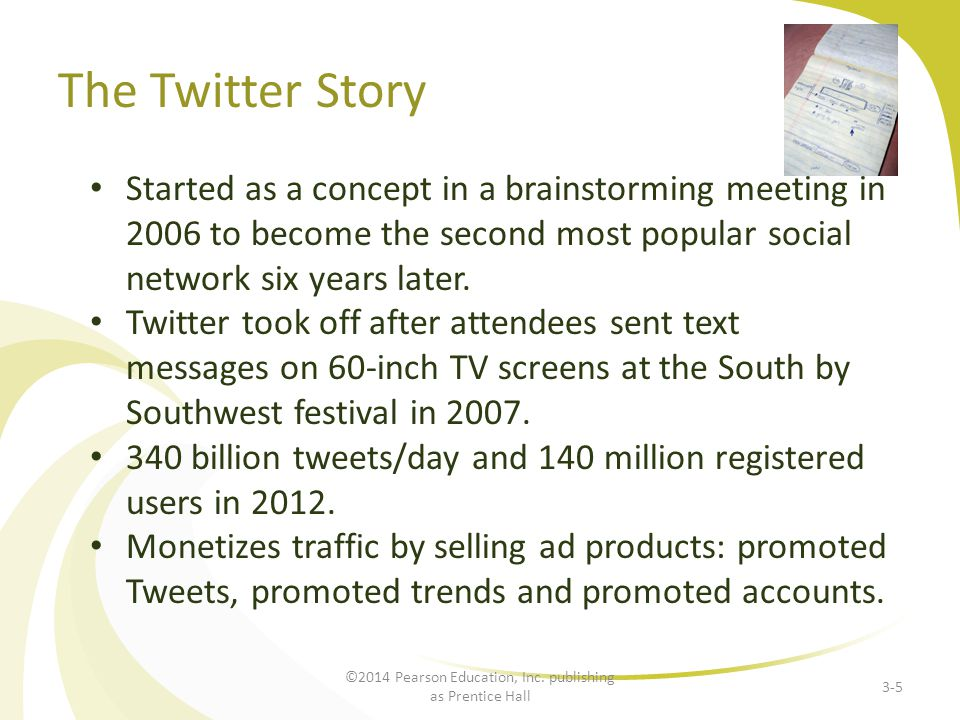 The Twitter Story Started as a concept in a brainstorming meeting in 2006 to become the second most popular social network six years later. Twitter to
