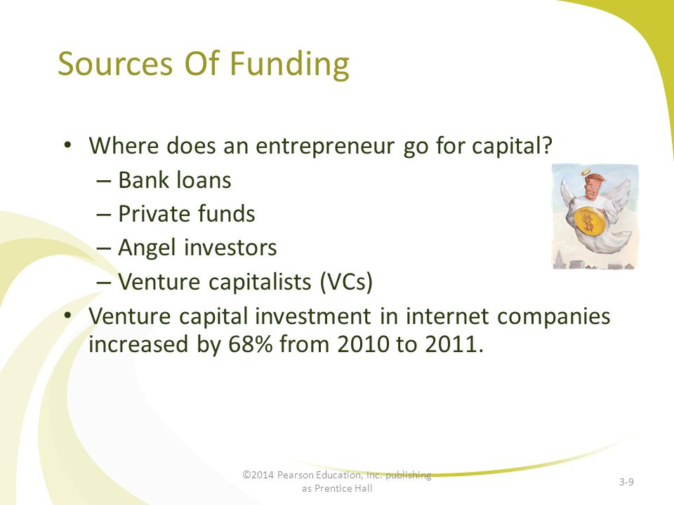 Sources Of Funding Where does an entrepreneur go for capital? – Bank loans – Private funds – Angel investors – Venture capitalists (VCs) Venture capit