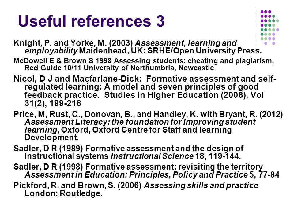 Useful references 3 Knight, P. and Yorke, M.