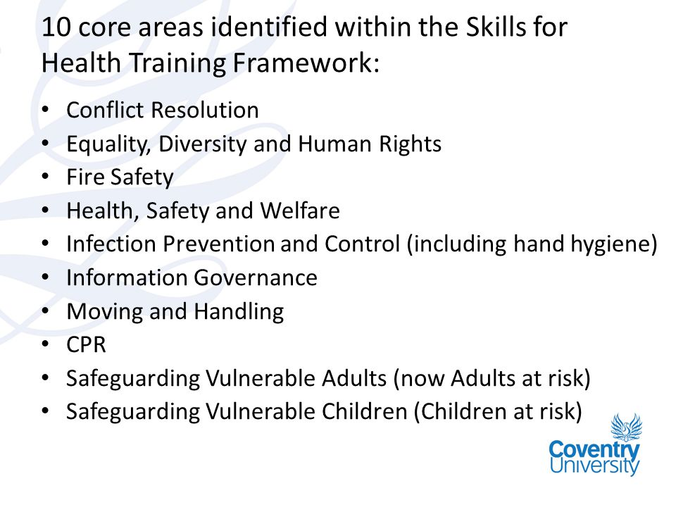 10 core areas identified within the Skills for Health Training Framework: Conflict Resolution Equality, Diversity and Human Rights Fire Safety Health,