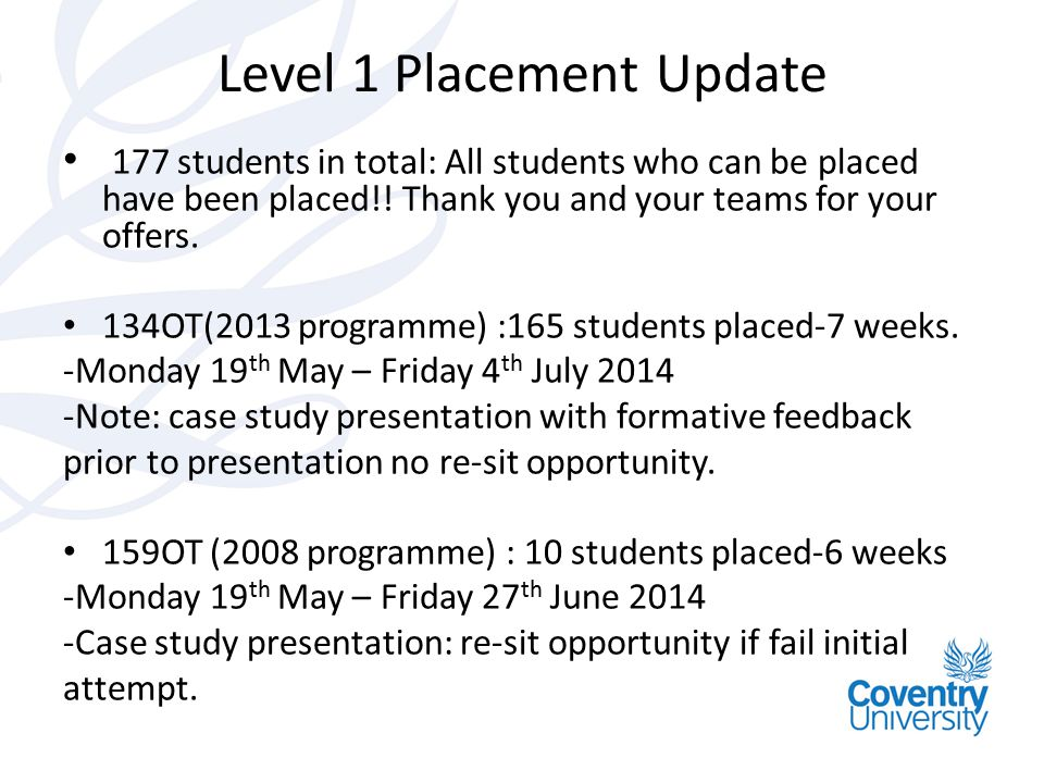 Level 1 Placement Update 177 students in total: All students who can be placed have been placed!! Thank you and your teams for your offers. 134OT(2013