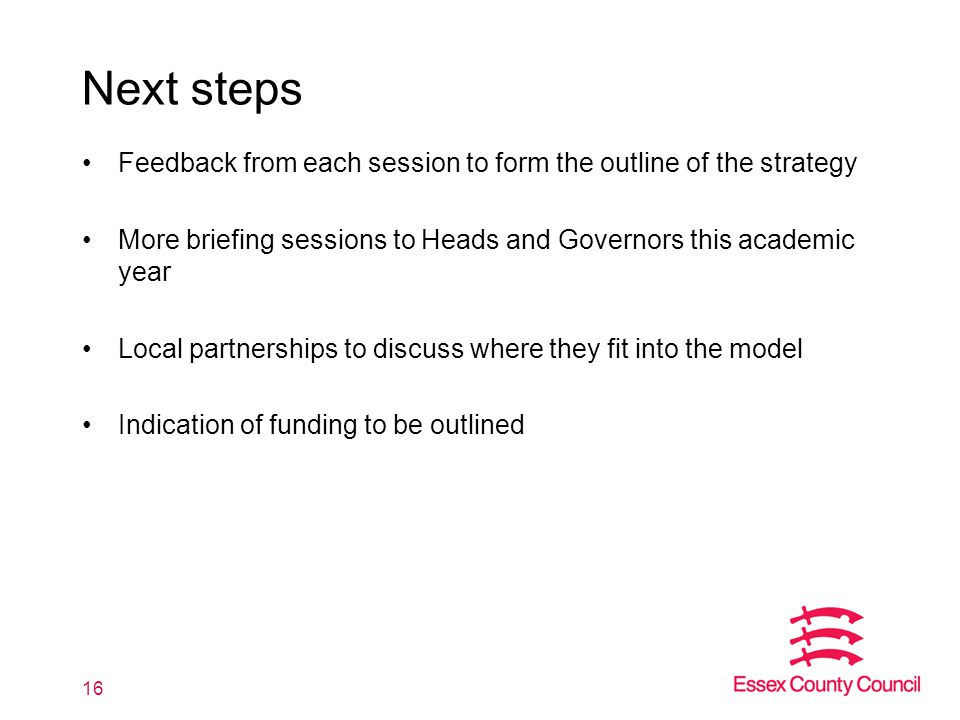 Next steps Feedback from each session to form the outline of the strategy More briefing sessions to Heads and Governors this academic year Local partn