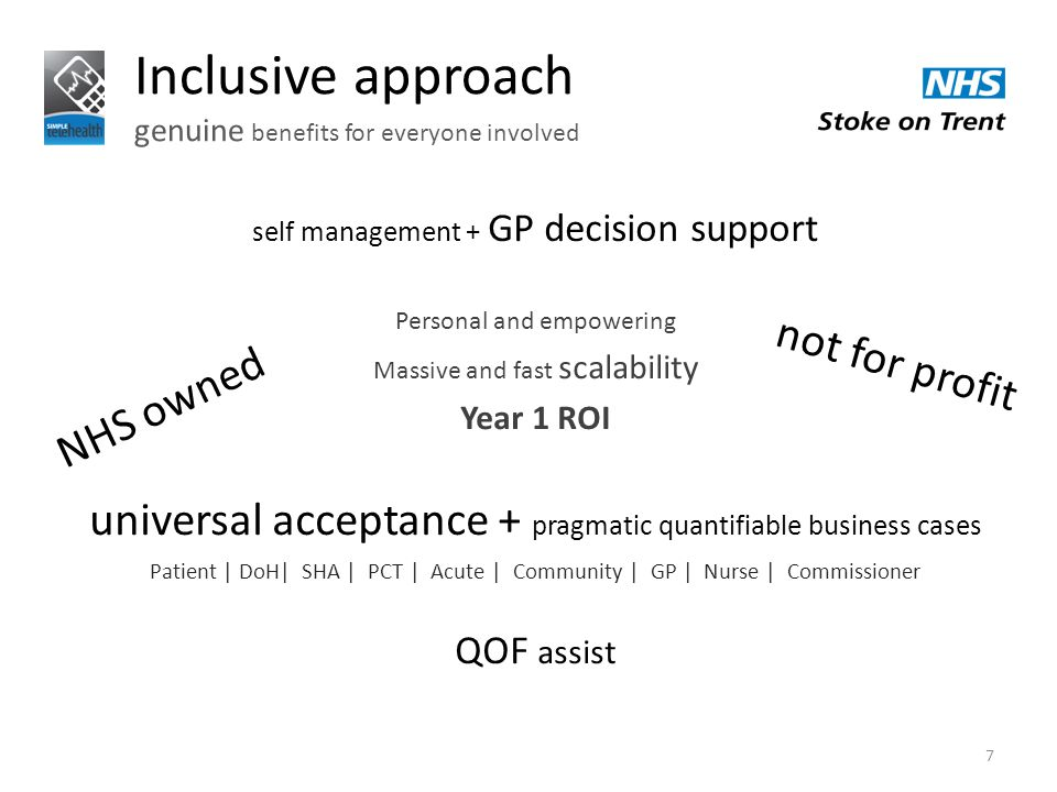 Inclusive approach genuine benefits for everyone involved 7 self management + GP decision support Personal and empowering Massive and fast scalability Year 1 ROI universal acceptance + pragmatic quantifiable business cases Patient | DoH| SHA | PCT | Acute | Community | GP | Nurse | Commissioner QOF assist NHS owned not for profit