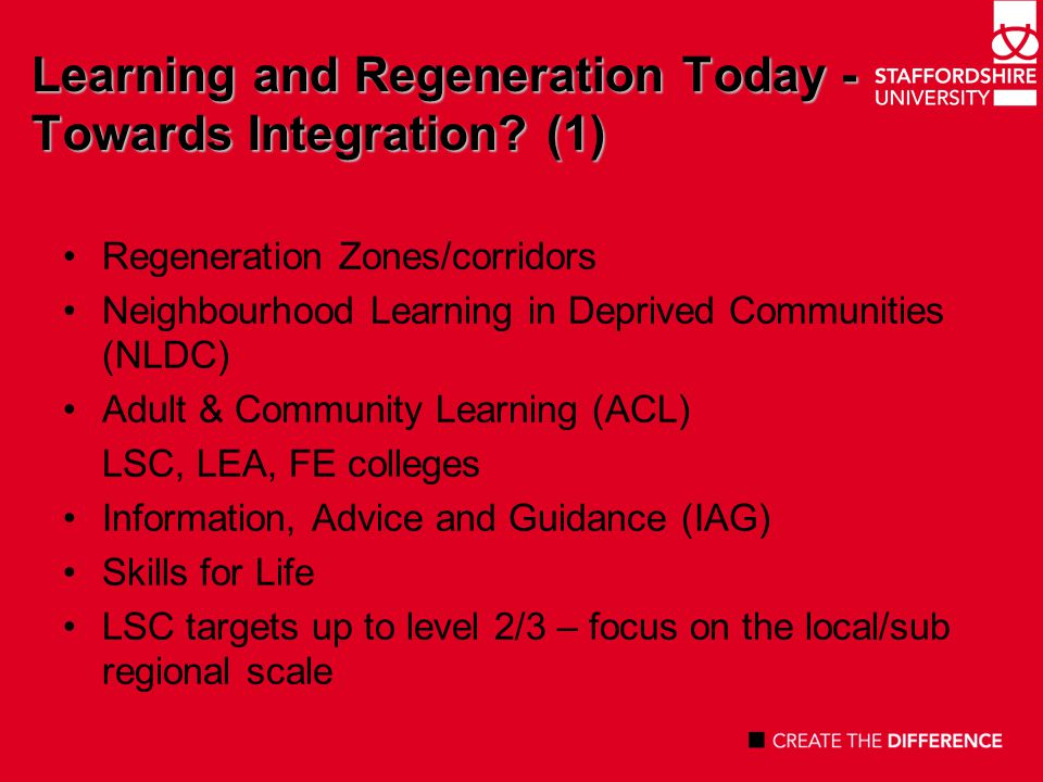 Learning and Regeneration Today - Towards Integration.