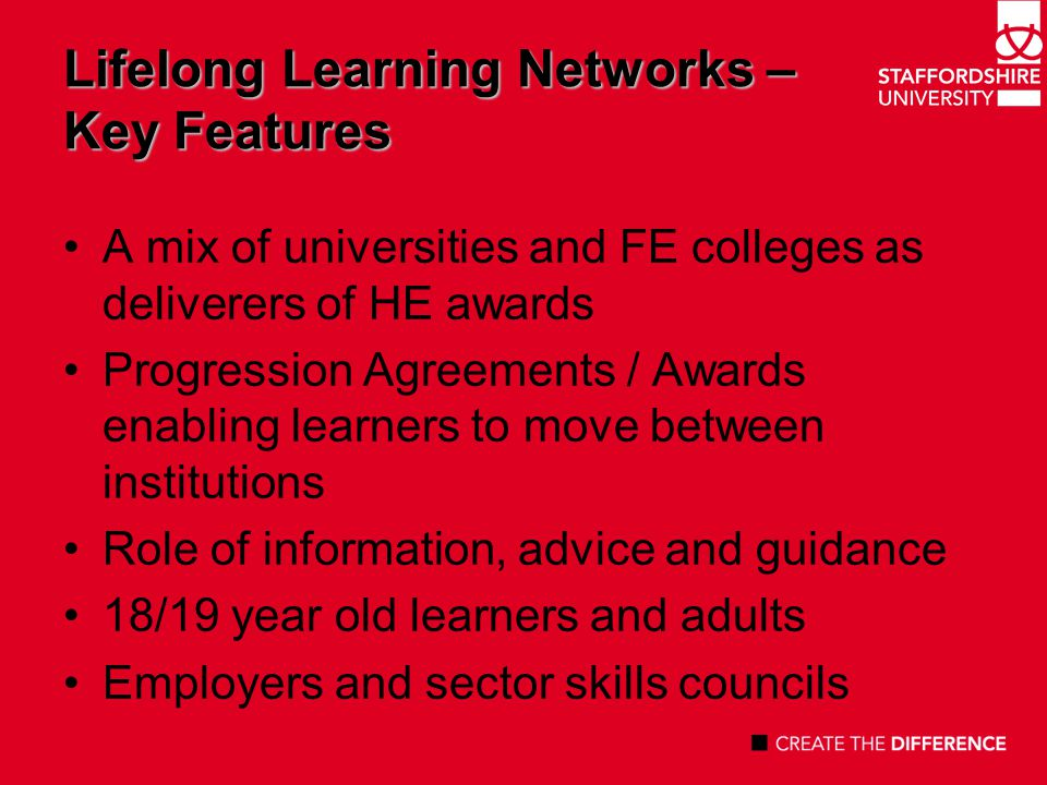 Lifelong Learning Networks – An example Staffordshire, Stoke on Trent, Shropshire, Telford & Wrekin Staffordshire University (lead), Keele University, University of Wolverhampton, Harper Adams University College, Open University 15 FE Colleges £3.86 million revenue funding 2007 – 2010 Sectors - Technology Creative & Media Health & Care Public Sector / Public Services + cross curricular themes – IT, Enterprise, Leadership and Management