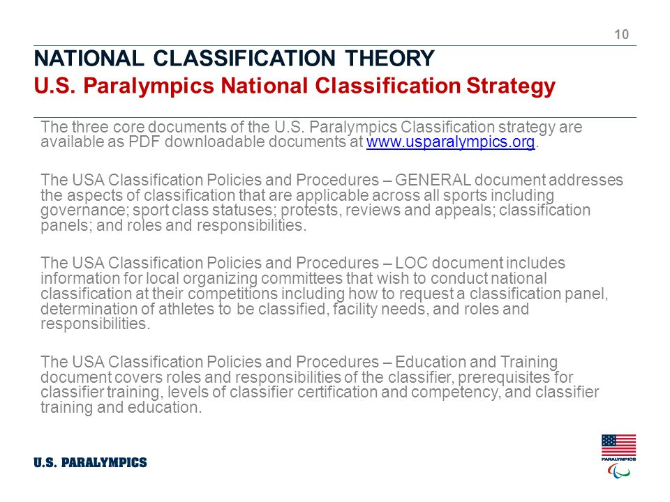 NATIONAL CLASSIFICATION THEORY U.S.