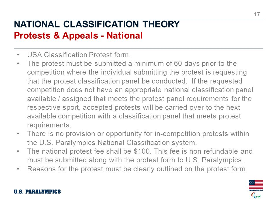 NATIONAL CLASSIFICATION THEORY Protests & Appeals - National 17 USA Classification Protest form.