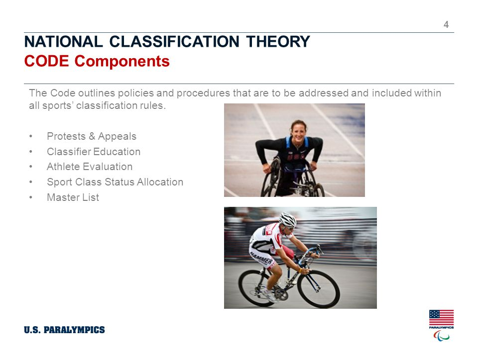 NATIONAL CLASSIFICATION THEORY CODE Components 4 The Code outlines policies and procedures that are to be addressed and included within all sports' classification rules.