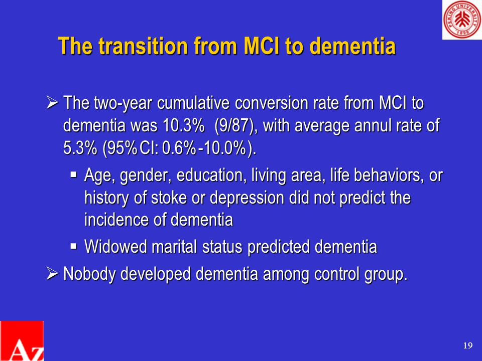 19 The transition from MCI to dementia  The two-year cumulative conversion rate from MCI to dementia was 10.3% (9/87), with average annul rate of 5.3% (95%CI: 0.6%-10.0%).