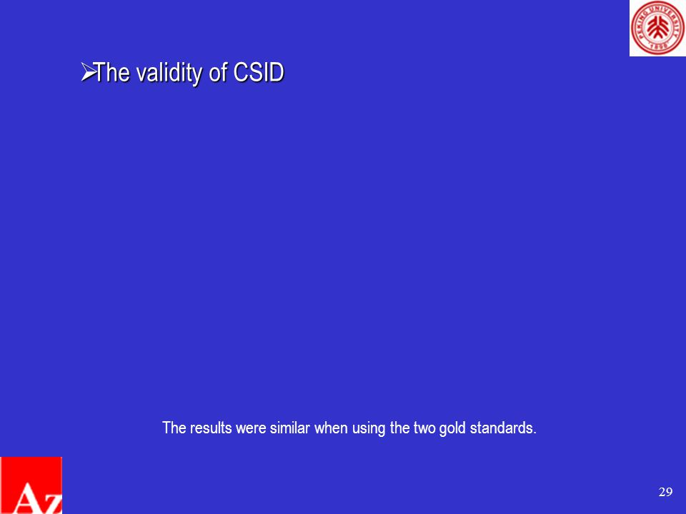 29 The results were similar when using the two gold standards.  The validity of CSID