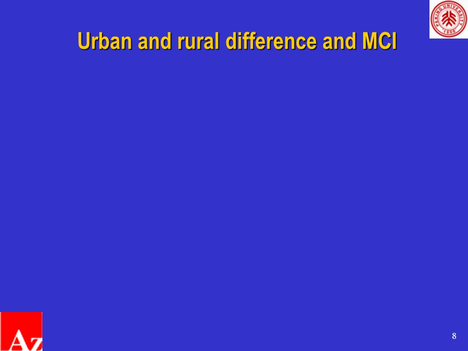 8 Urban and rural difference and MCI