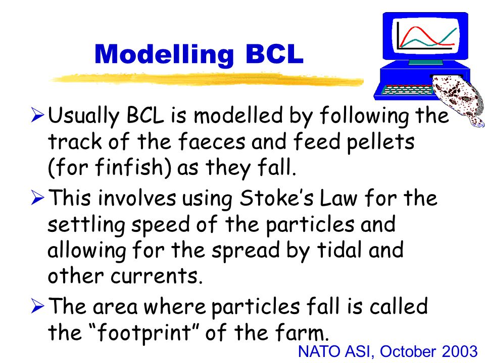 NATO ASI, October 2003 Modelling BCL  Usually BCL is modelled by following the track of the faeces and feed pellets (for finfish) as they fall.