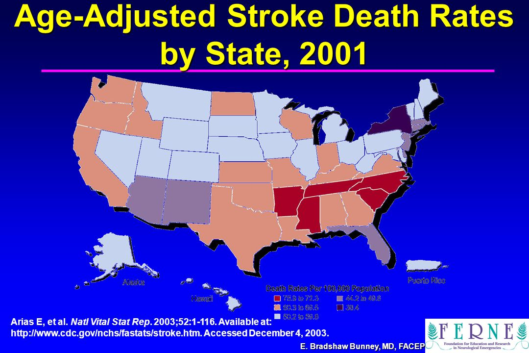E. Bradshaw Bunney, MD, FACEP Age-Adjusted Stroke Death Rates by State, 2001 Arias E, et al.