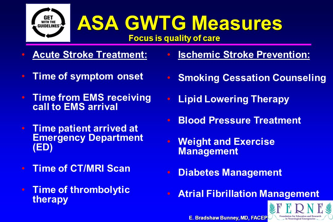 E. Bradshaw Bunney, MD, FACEP ASA GWTG Measures Acute Stroke Treatment: Time of symptom onset Time from EMS receiving call to EMS arrival Time patient