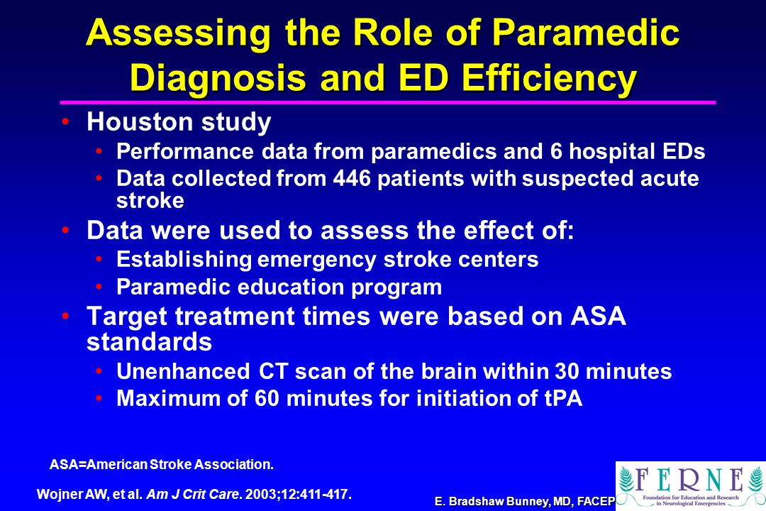 E. Bradshaw Bunney, MD, FACEP Assessing the Role of Paramedic Diagnosis and ED Efficiency Houston study Performance data from paramedics and 6 hospita