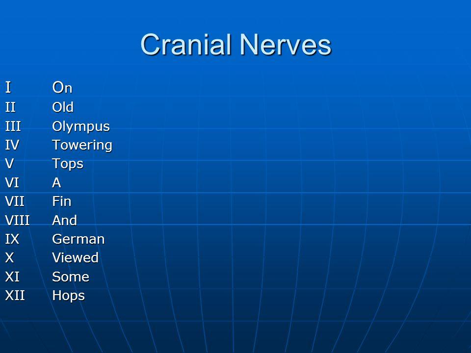 Cranial Nerves I O n II Old IIIOlympus IVTowering VTops VIA VIIFin VIIIAnd IXGerman XViewed XISome XIIHops