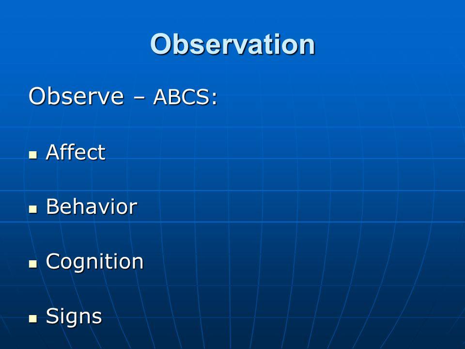Observation Observe – ABCS: Affect Affect Behavior Behavior Cognition Cognition Signs Signs