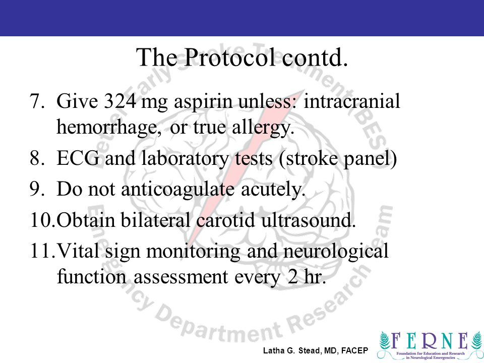 Latha G. Stead, MD, FACEP The Protocol contd.