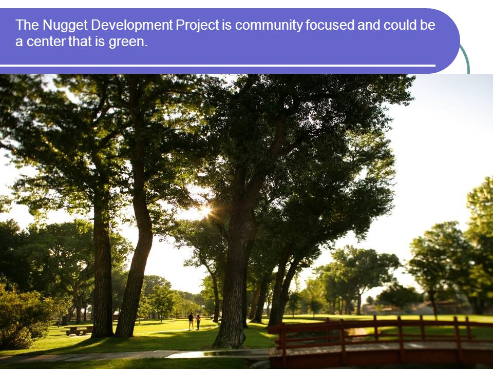 The Nugget Development Project is community focused and could be a center that is green.