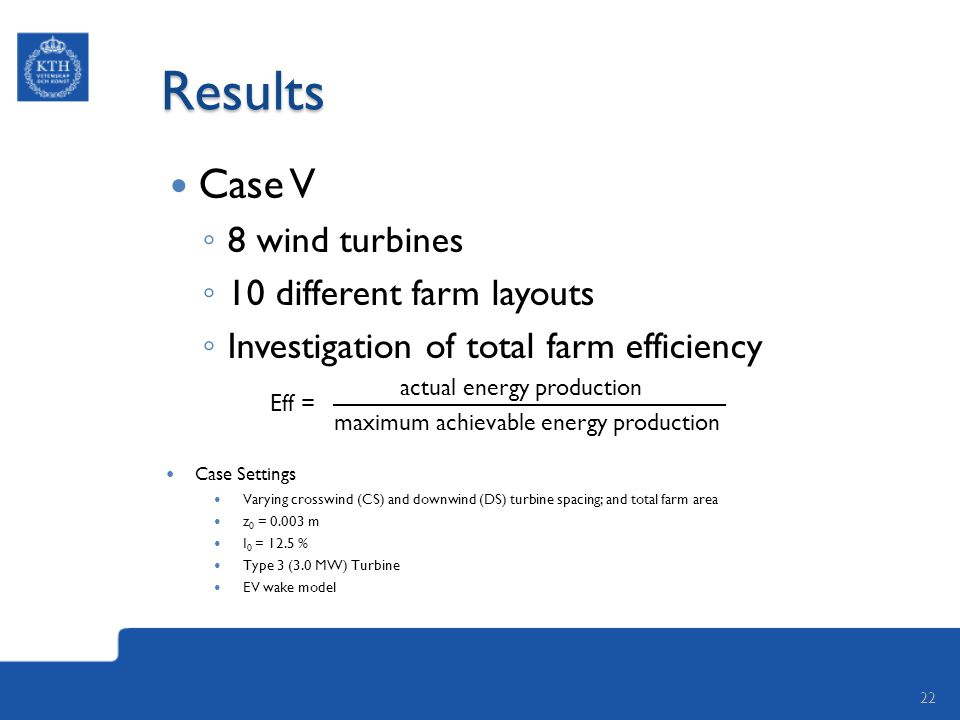 Results Case V ◦ 8 wind turbines ◦ 10 different farm layouts ◦ Investigation of total farm efficiency actual energy production maximum achievable energy production 22 Case Settings Varying crosswind (CS) and downwind (DS) turbine spacing; and total farm area z 0 = 0.003 m I 0 = 12.5 % Type 3 (3.0 MW) Turbine EV wake model Eff =